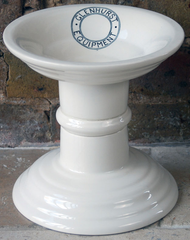 antique white ironstone advertising glenhurst equipment ham stand
