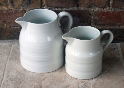 Antique white banded ironstone dairy pitchers george jones sons