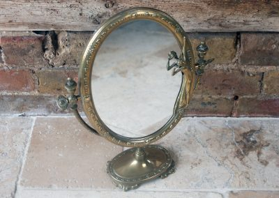 Hollywood Regency Art Nouveau Italian Solid Brass Mirror FAL Italy Lady Nymph