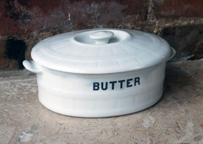 Edwardian ironstone cetem ware white banded butter dish crock whiteware