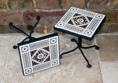 Antique Edwardian Minton Tiles Cast Iron Pot Stands