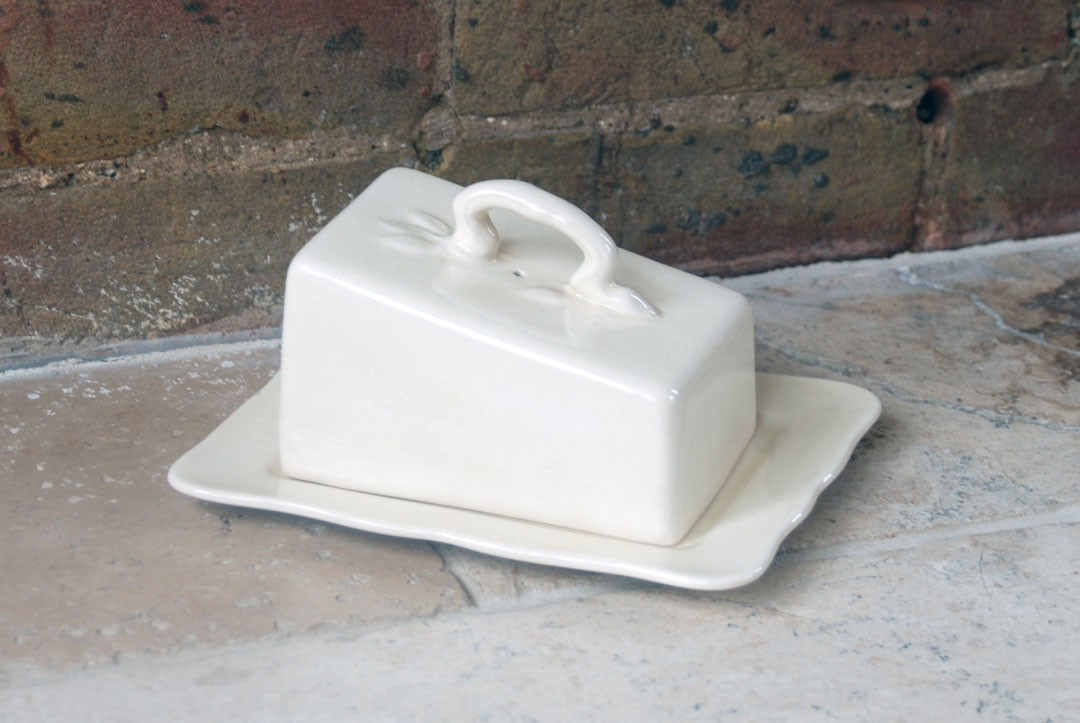 Antique 1920s 1930s masons ironstone butter dish cheese dish crock cloche lidded white ivory