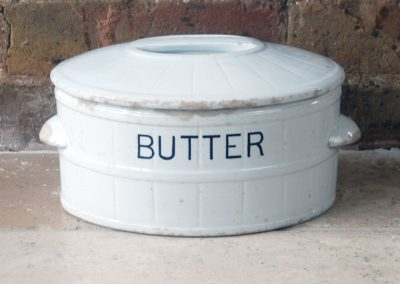 antique edwardian white ironstone banded butter crock dish original lid large