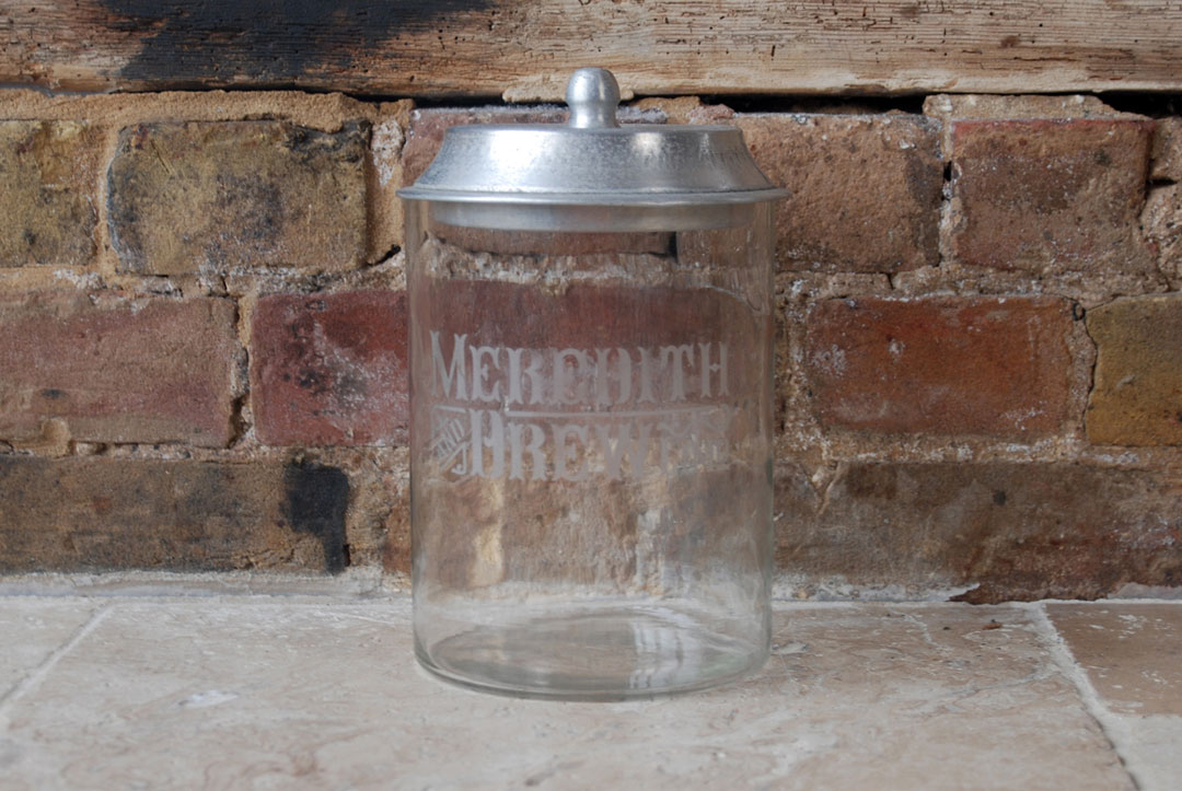 1930s antique Meredith Drew glass shop counter advertising display jar