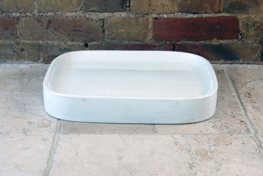 Antique Edwardian Victorian white ironstone grocers shop dairy butchers slab WT Avery