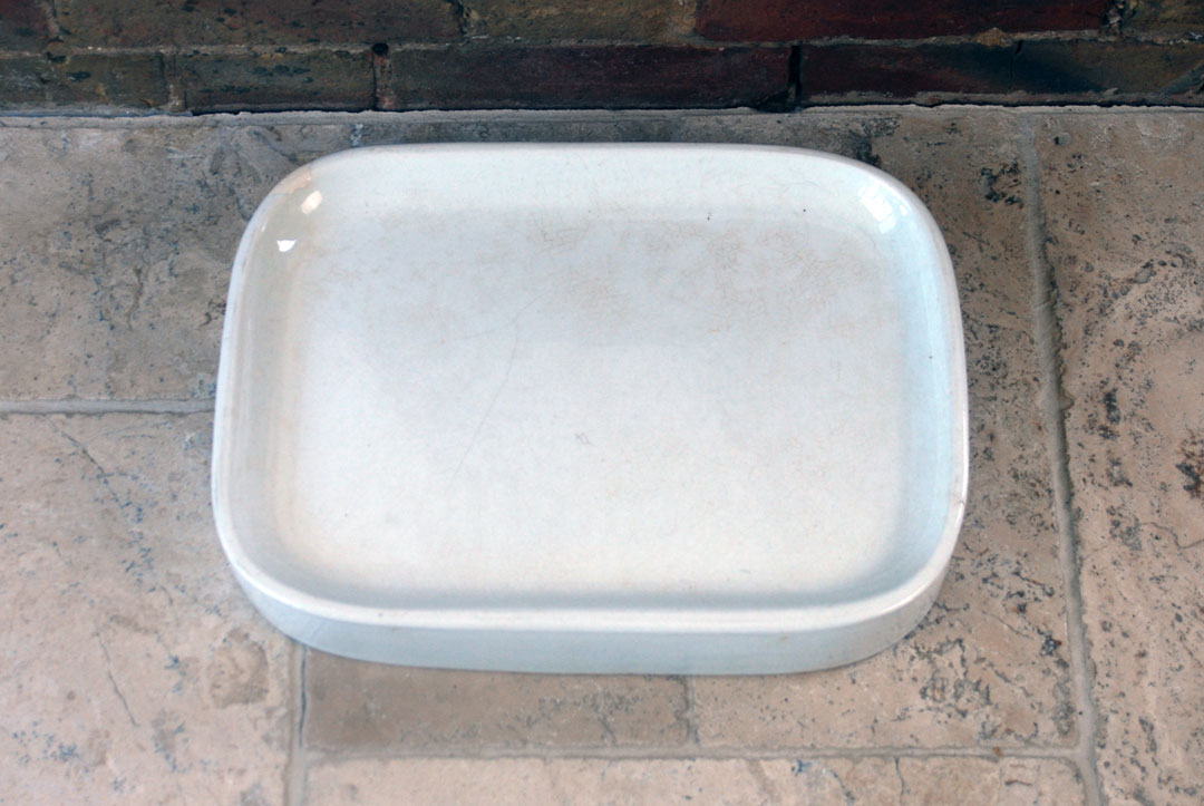 Antique Edwardian Victorian white ironstone grocers shop butchers slab WT Avery
