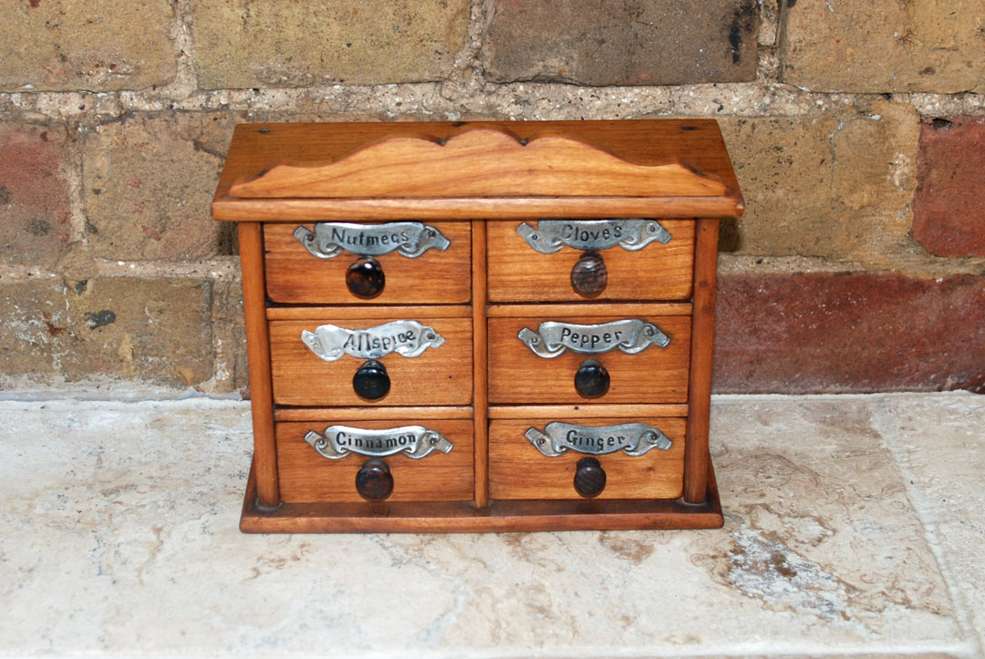 Antique Victorian Treen Wooden Spice Chest 6 Drawers Cupboard