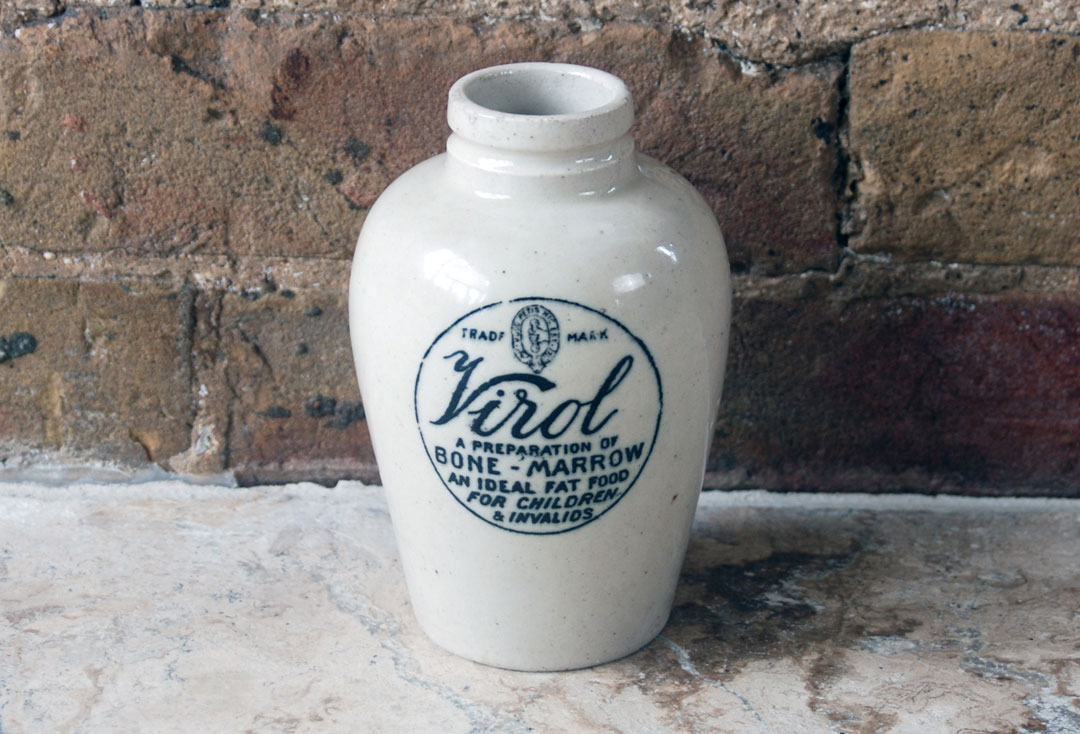 large virol stoneware antique early advertising jar bone marrow