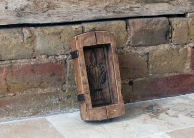Antique French brocante butter mold mould carved treen flower brick