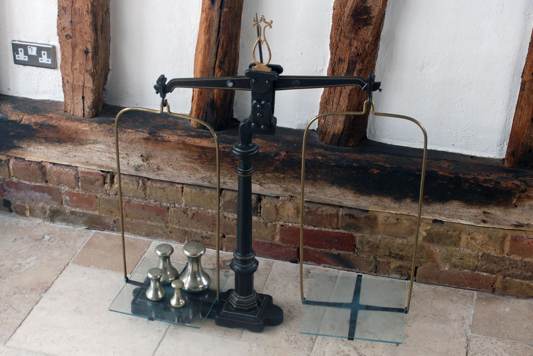 antique victorian large cast iron shop retail scales  glass scale plates