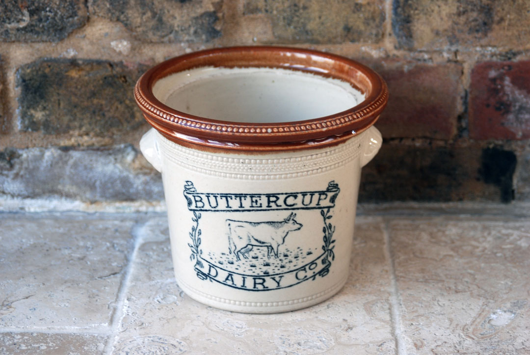antique buchan rare scottish stoneware buttercup dairy butter crock dish