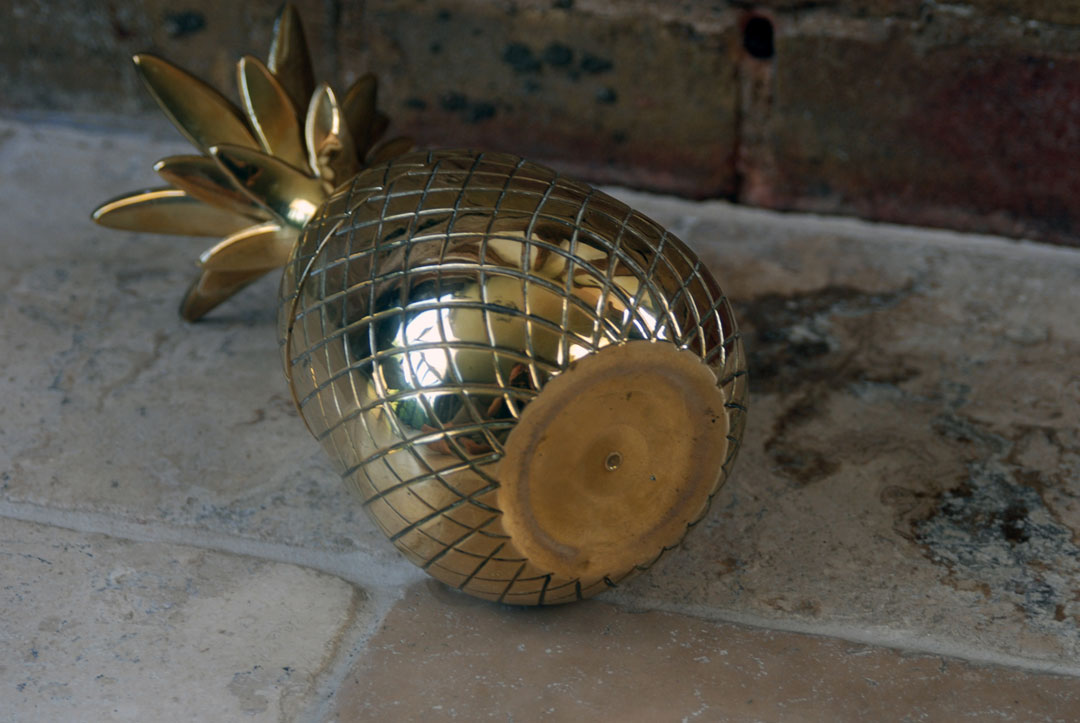 retro vintage mid century 1960s kitsch polished brass large pineapple trinket pot ice bucket jewellery box