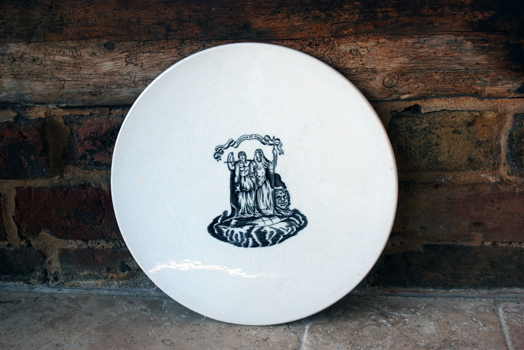 Edwardian Antique White Ironstone Scale Plate Cheese Dish Justitia et Fides