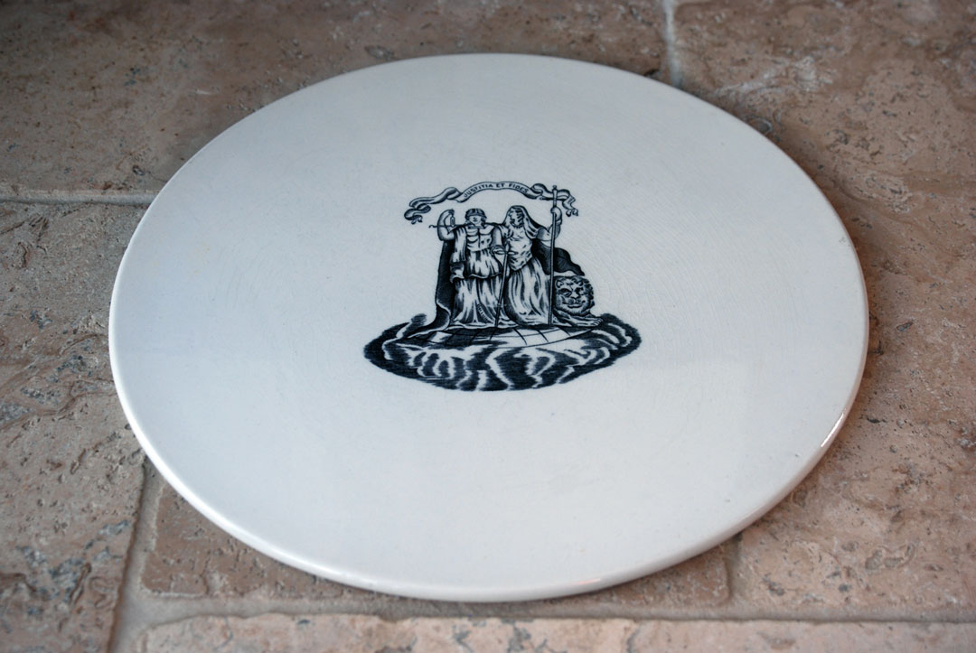 Antique edwardian scale plate justice latin jusititia fides ironstone cheeseboard
