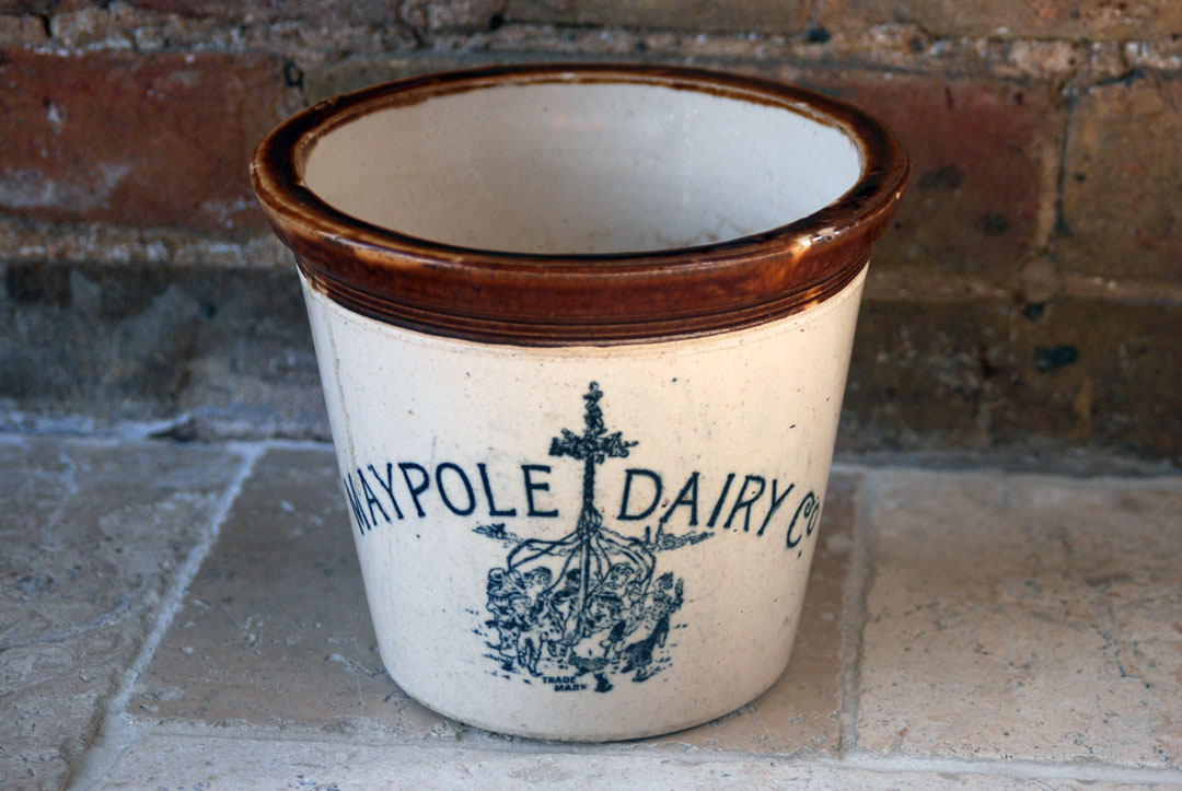 antique scottish stoneware maypole dairy 4lb butter crock