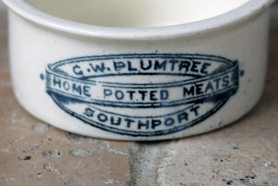 Antique edwardian white ironstone advertising packaging black transfer print plumtree potted meats southport