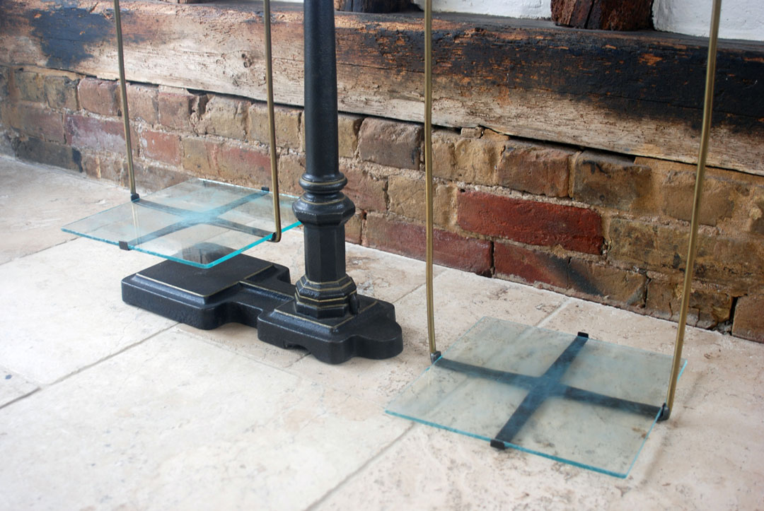 Antique Victorian Cast Iron Butchers Scales with Glass Trays, Vintage Grocers Shop Scales Statement Interior Design Display
