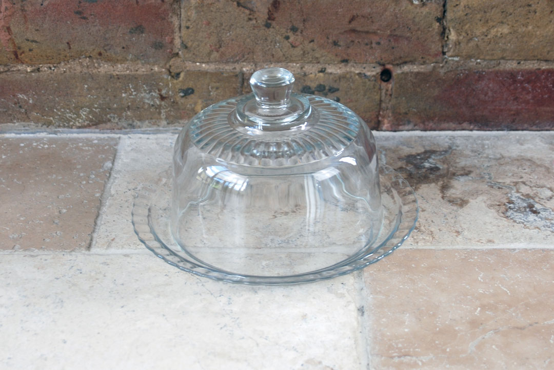 vintage retro mid century 1950s french glass cheese dome cloche arcoroc france