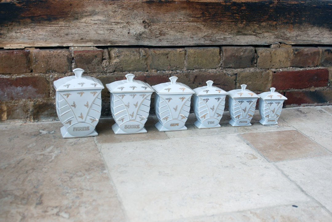 Antique French Art Deco 1930s Kitchen Storage Jars