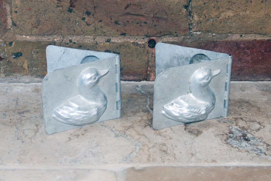 Antique vintage french aluminium chocolate mould ducks