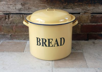 Vintage mid century retro enamel bread bin yellow buttermilk blue