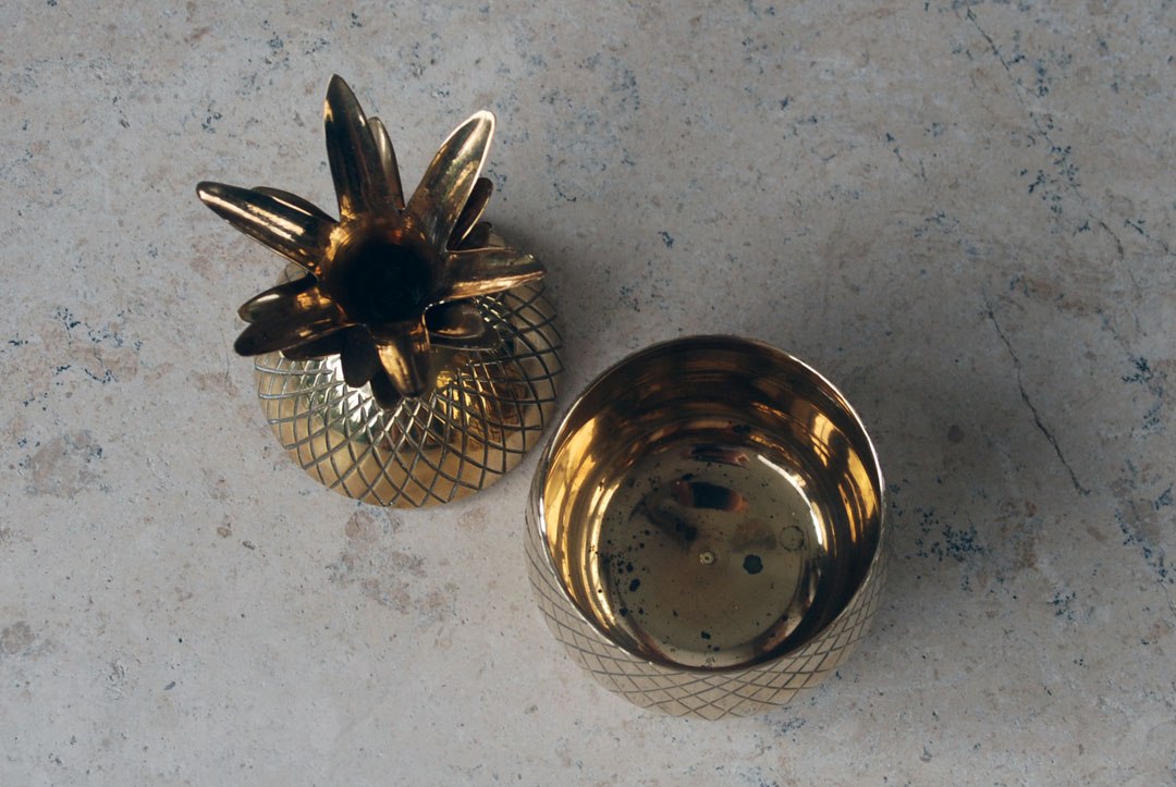 vintage retro hollywood regency 1960s mid century brass pineapple ice bucket trinket pot