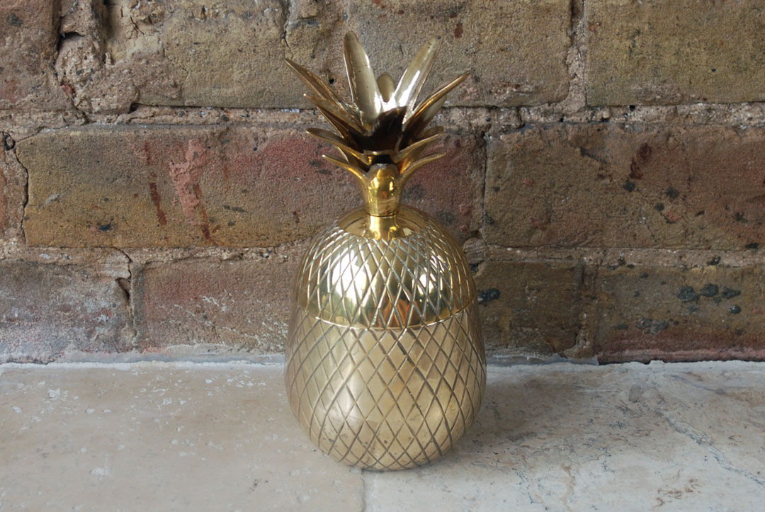 vintage retro mid century hollywood regency large brass pineapple ice bucket trinket