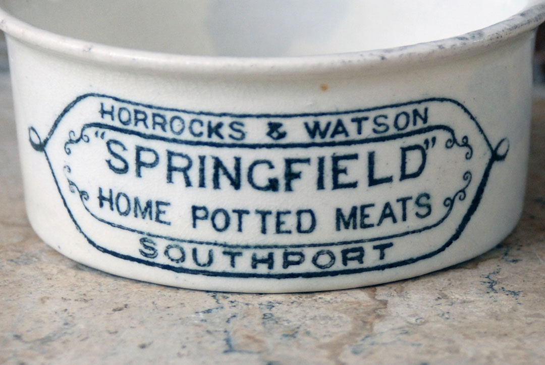 antique white ironstone horrocks watson springfield home potted meats southport edwardian advertising packaging