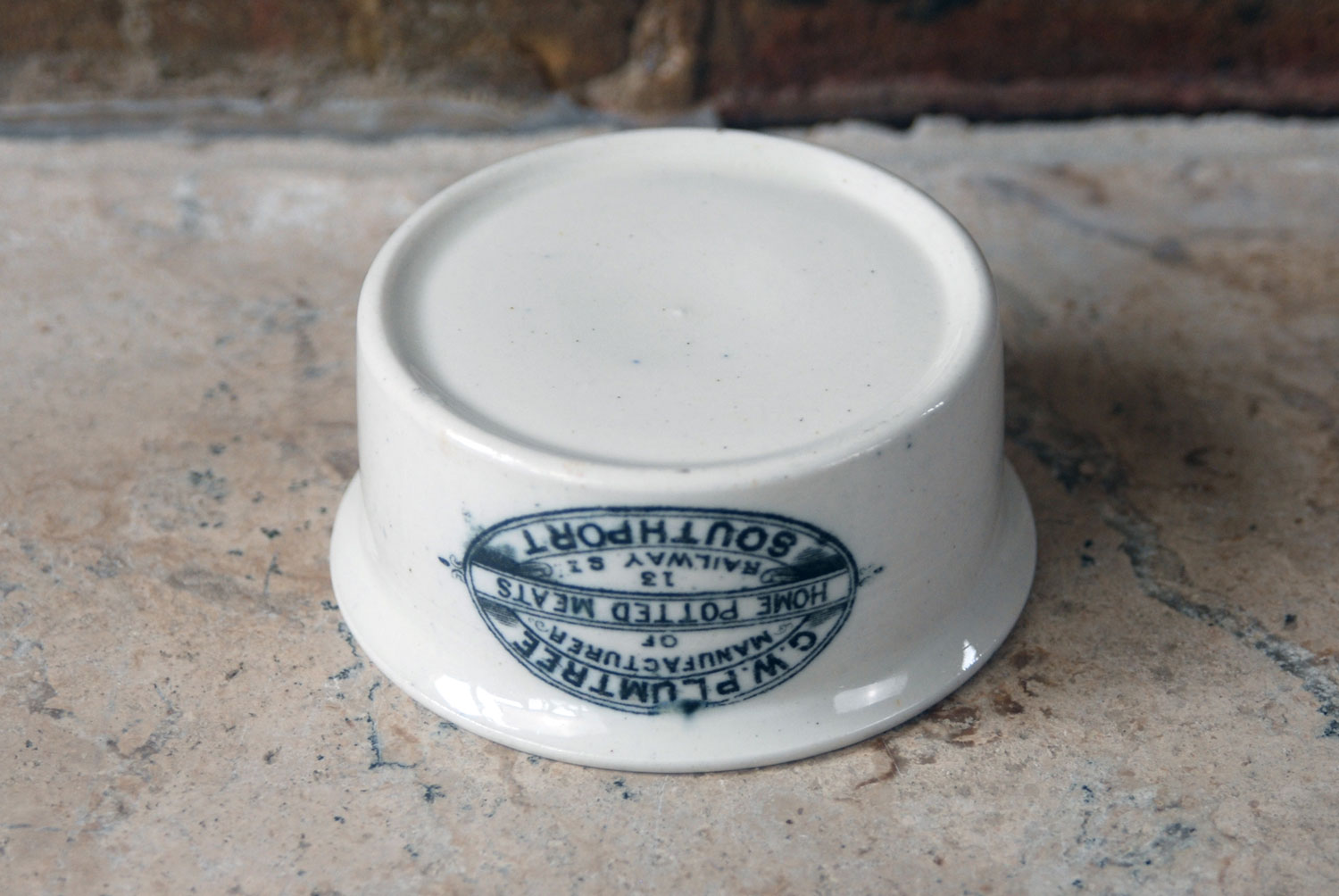 white ironstone packaging gw plumtree antique potted meat jar