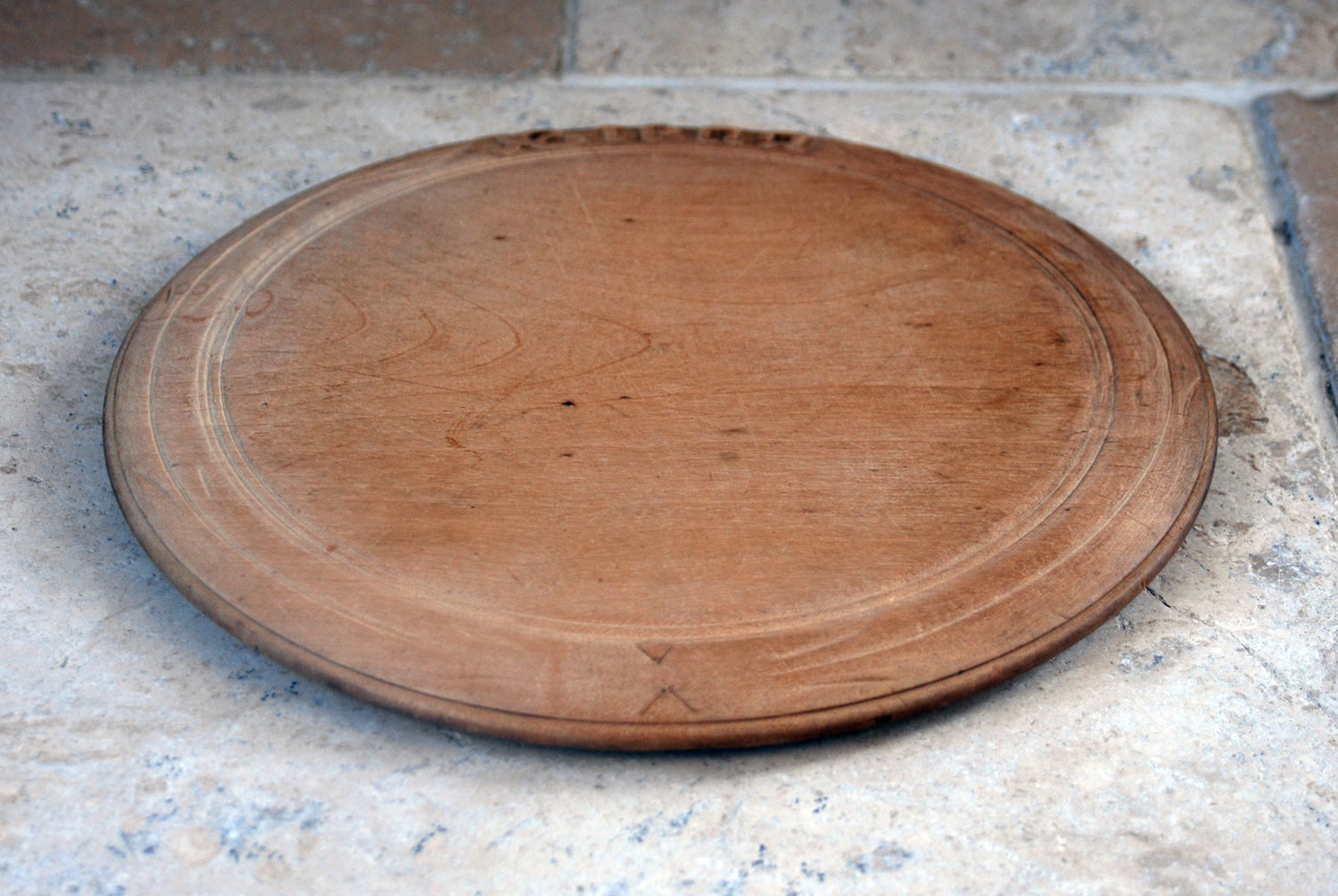 antique victorian catved sycamore wooden breadboard