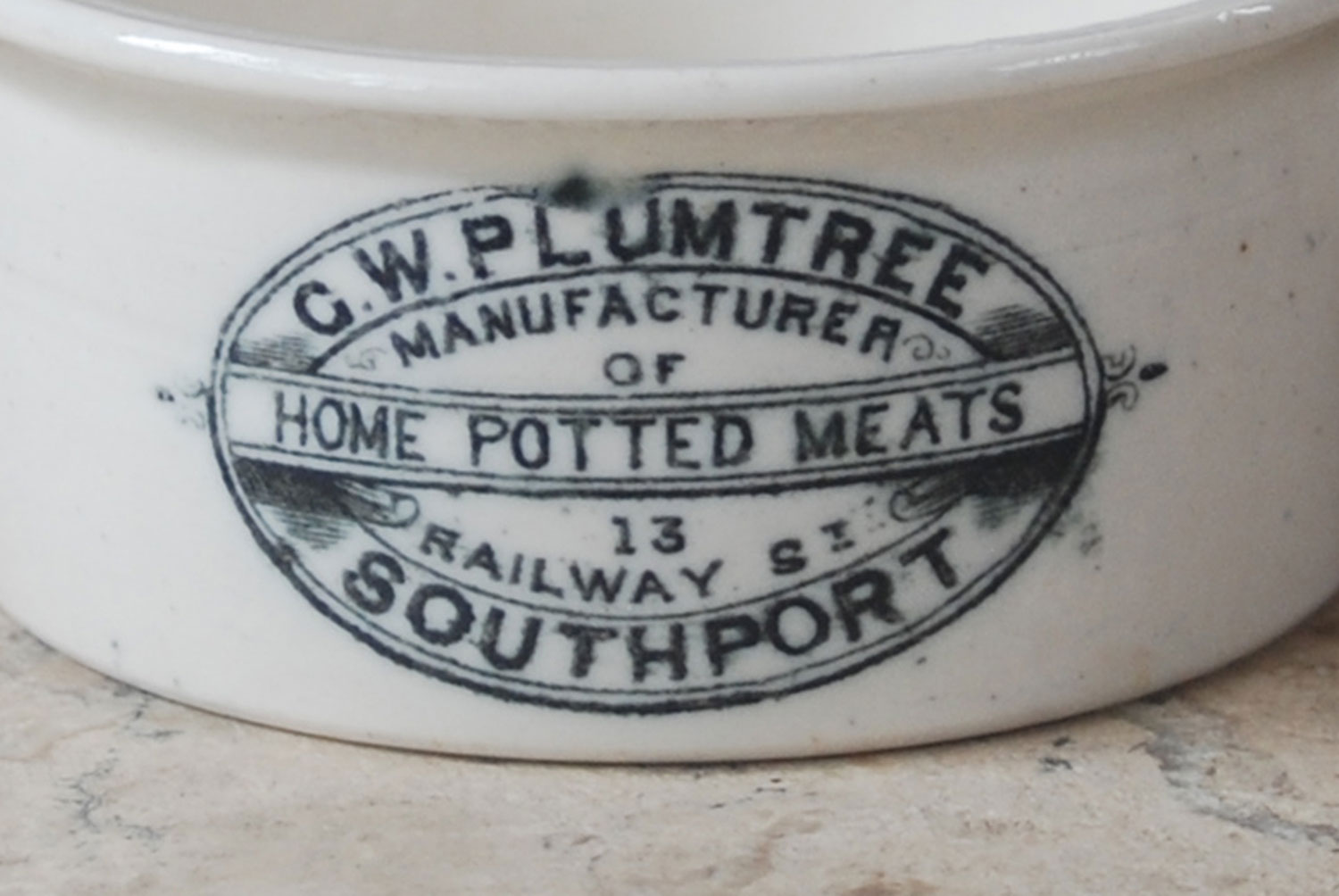 GW Plumtree southport antique victorian edwardian ironstone packaging advertising potted meat