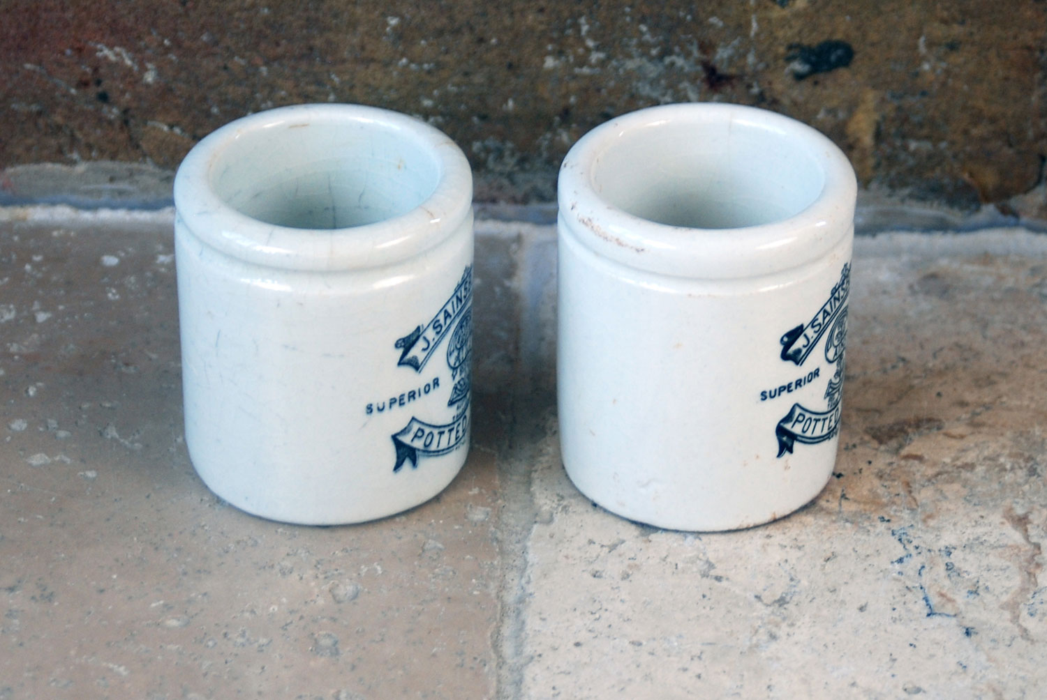 victorian antique english white ceramic ironstone packaging j sainsbury potted meat