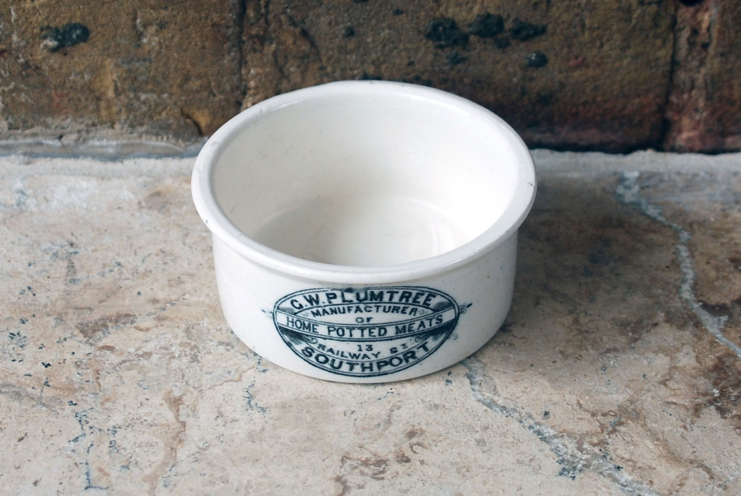 victorian edwardian antique ironstone pot GW Plumtree potted meat southport