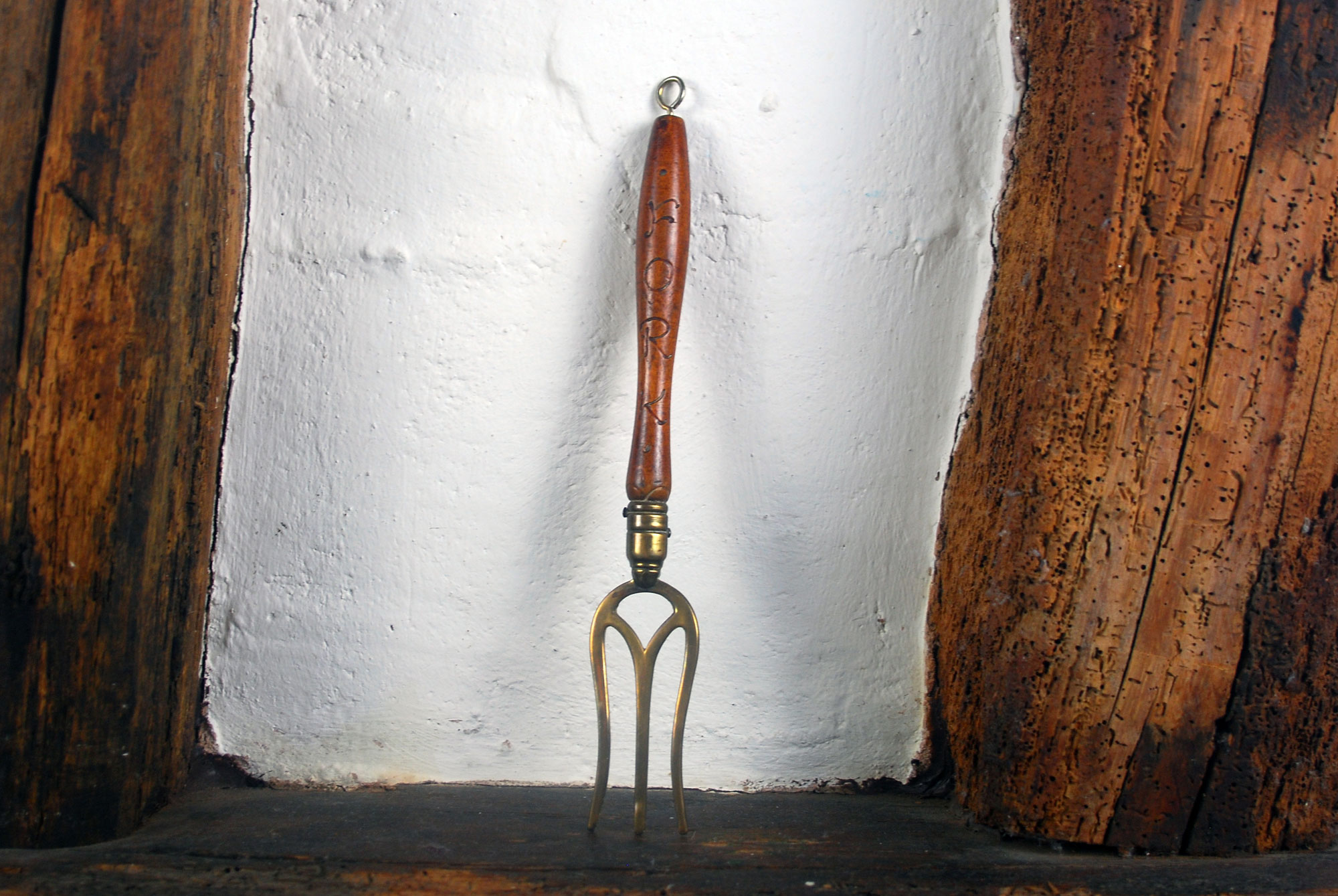 antique 1920s 1930s carved treen wooden bread fork brass