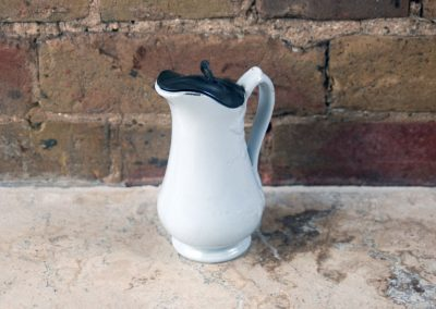 antique 1800s j g meakin white ironstone milk cream pitcher pewter lid