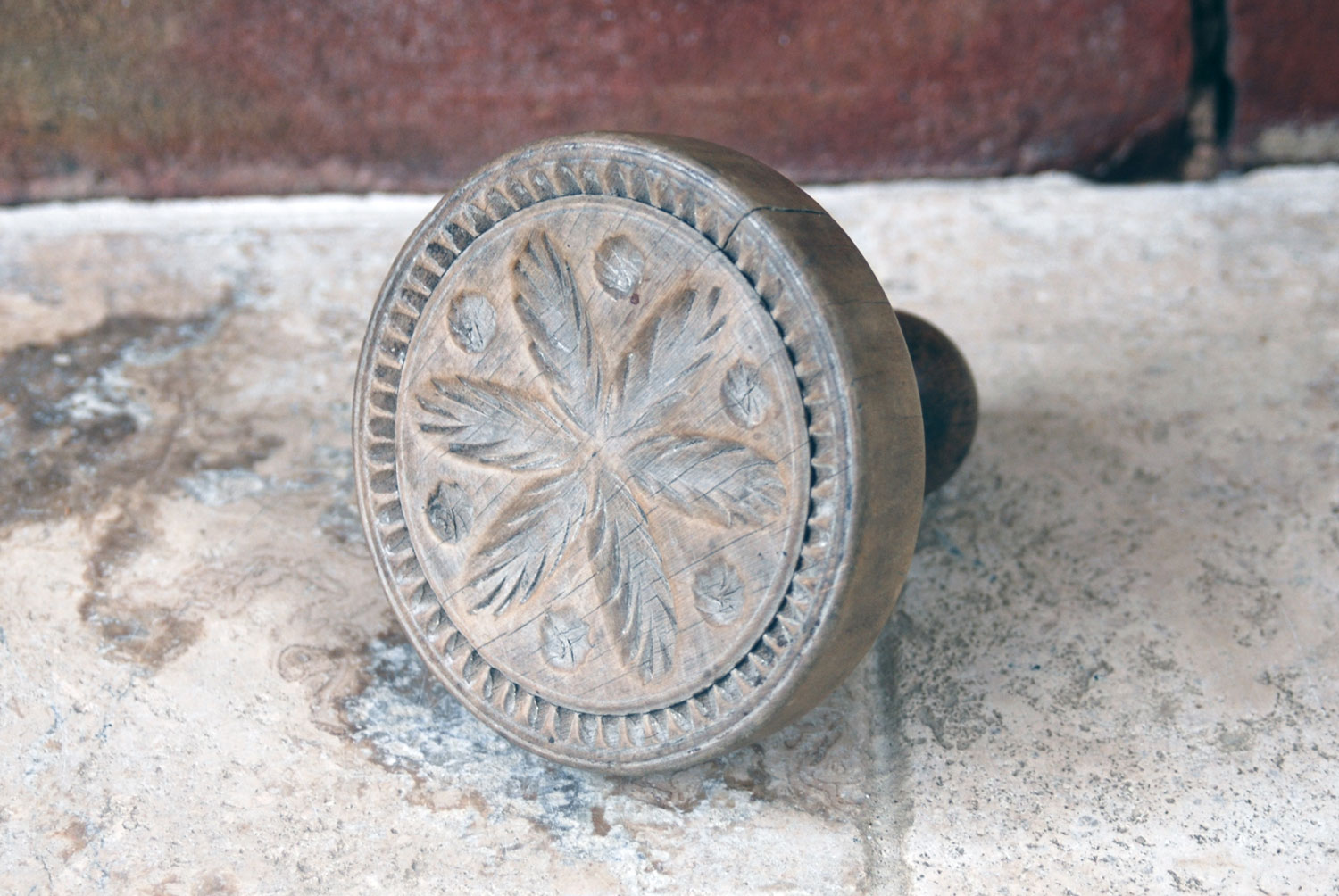 Victorian antique treen wooden english butter stamp print mold mould flower