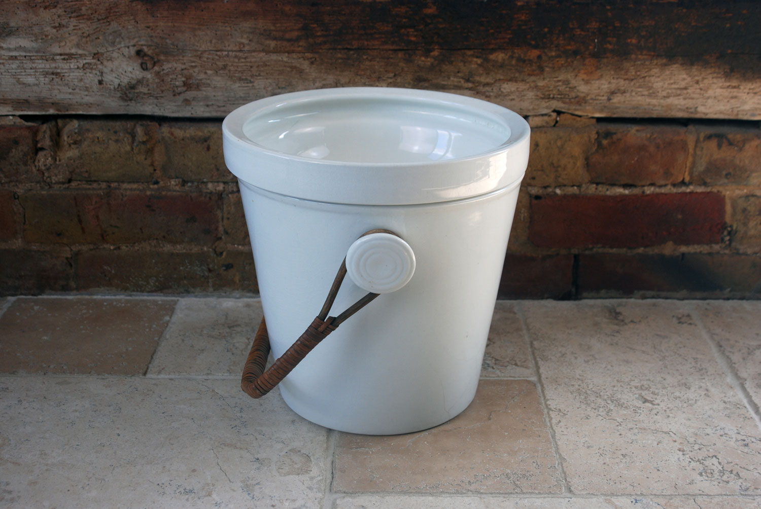 antique victorian white ironstone slop bucket pail champagne cooler