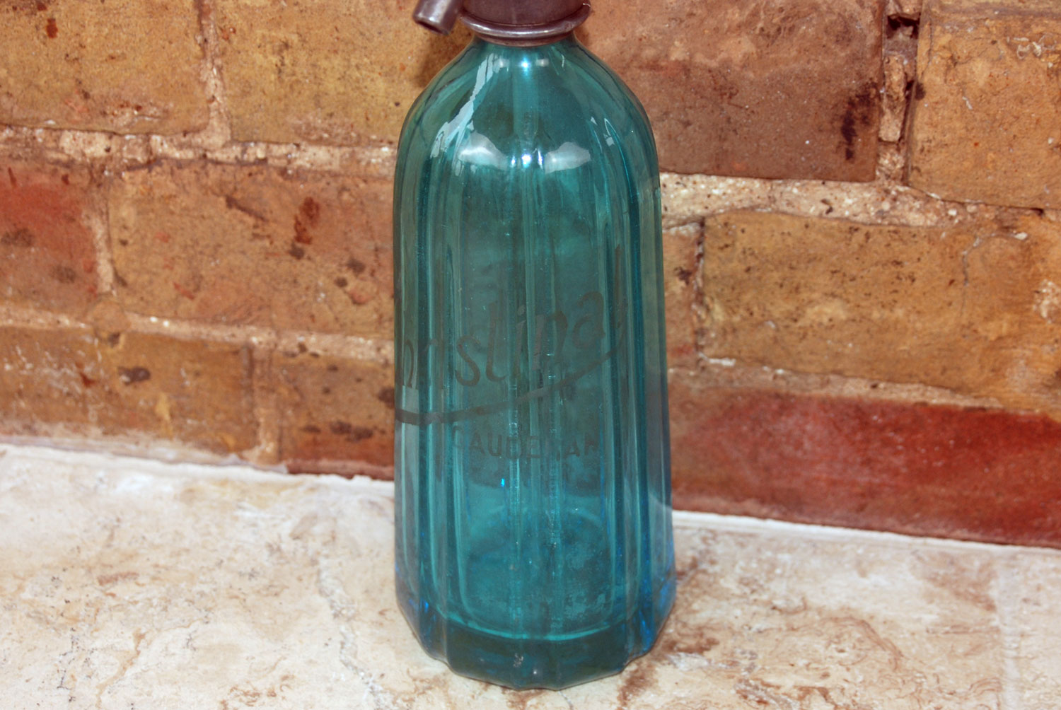 Antique French brocante 1930s blue soda syphon cafe barware bar