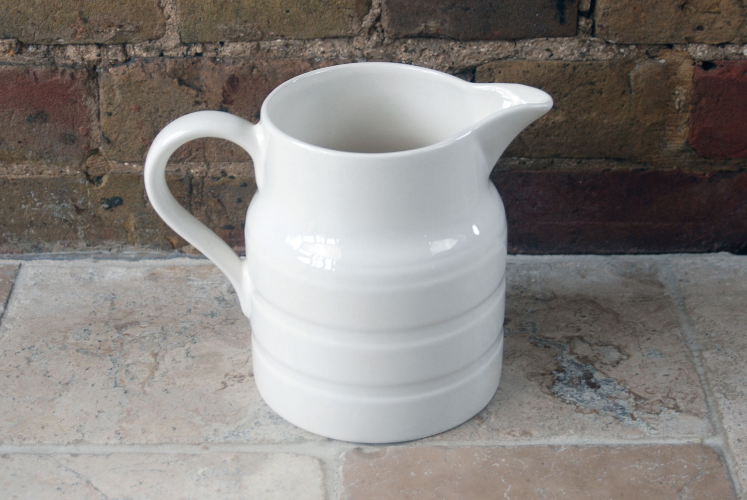 vintage mid century 1950s white banded ironstone elijah cotton lord nelson ware 3 pint jug