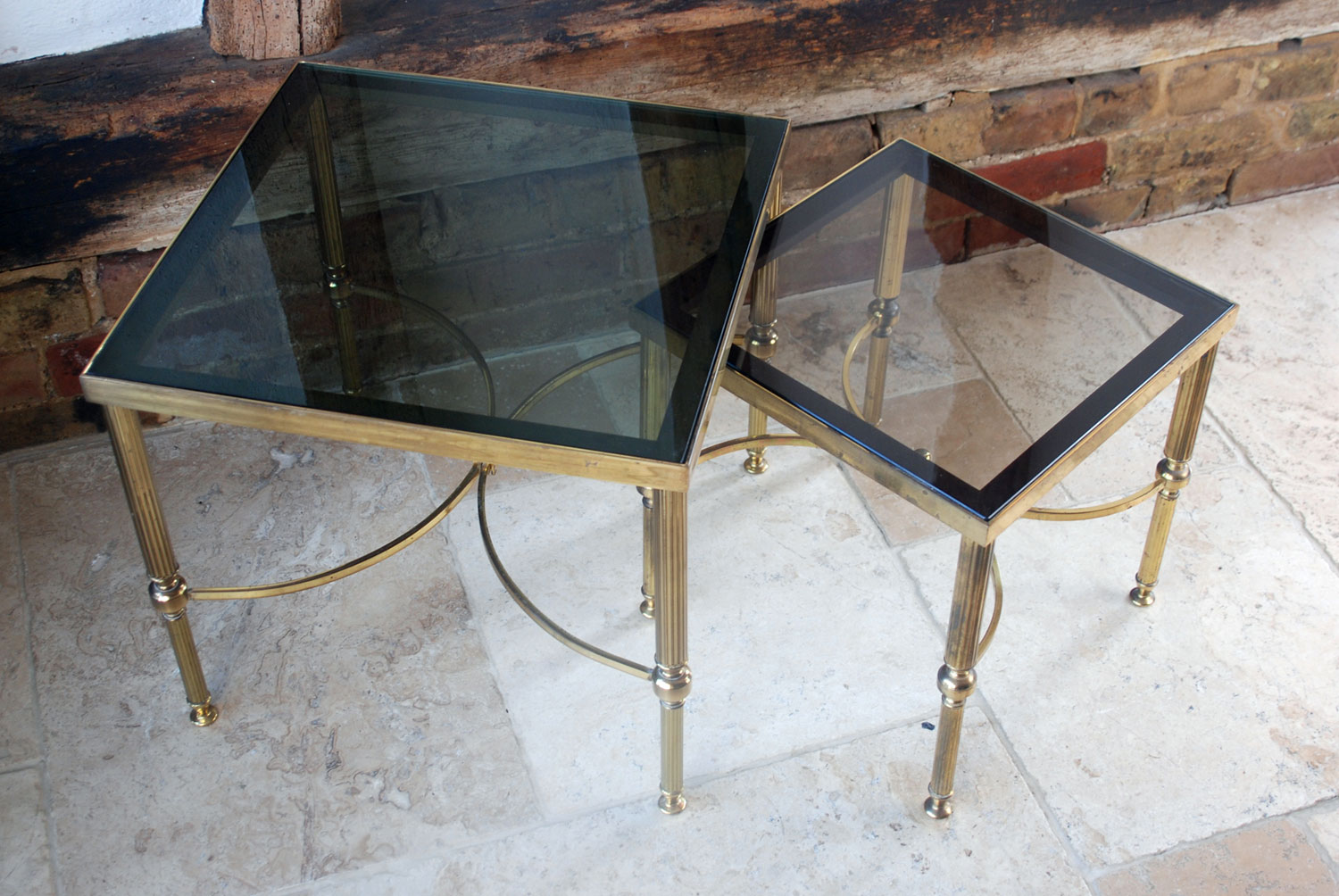 hollywood regency maison jansen brass smoked glass side coffee tables