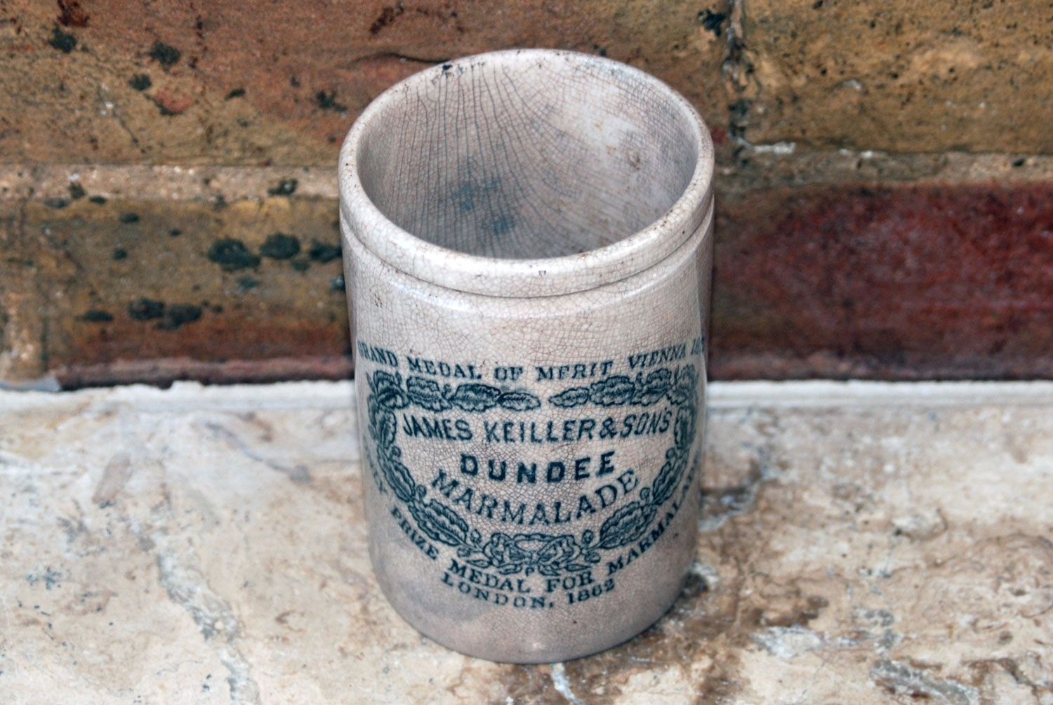Antique victorian edwardian white ironstone james keiller 1lb dundee marmalade pot weathered chippy shabby chic grey