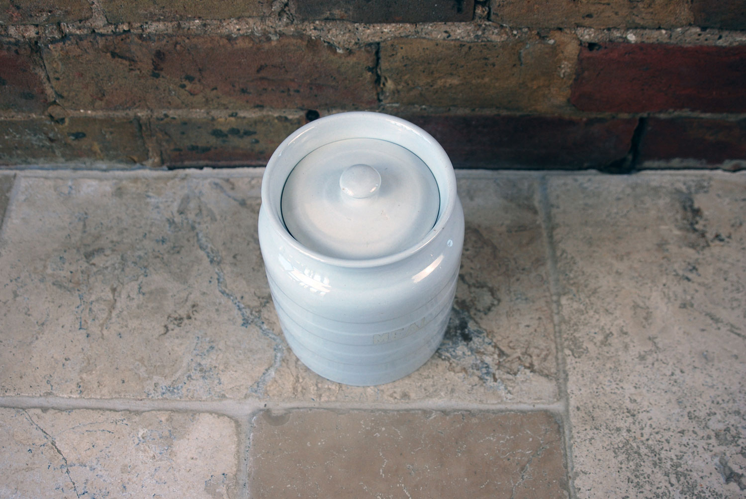 antique white ironstone plain banded meal kitchen storage jar