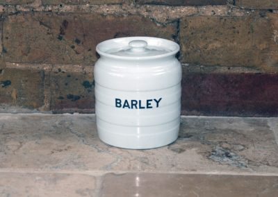 edwardian white ironstone banded barley storage jar kitchen ceramic pot