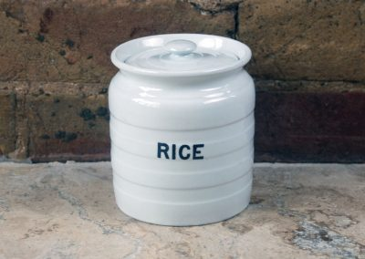 edwardian ironstone white banded storage jar rice