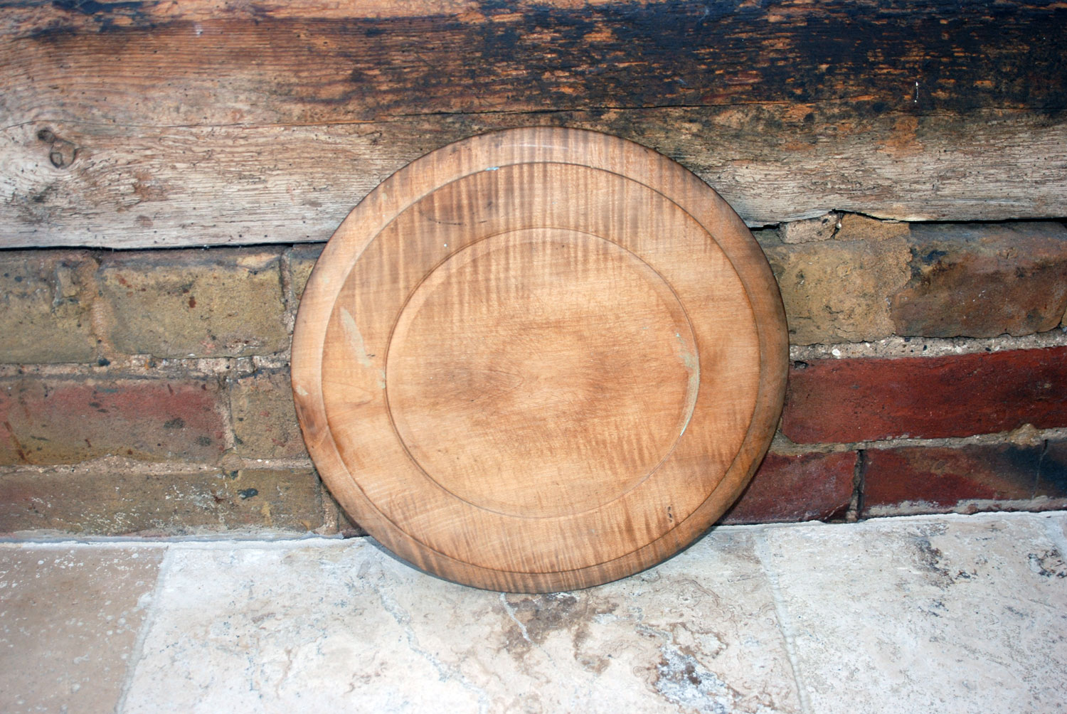 antique victorian english treen wooden deeply carved round circular bread board