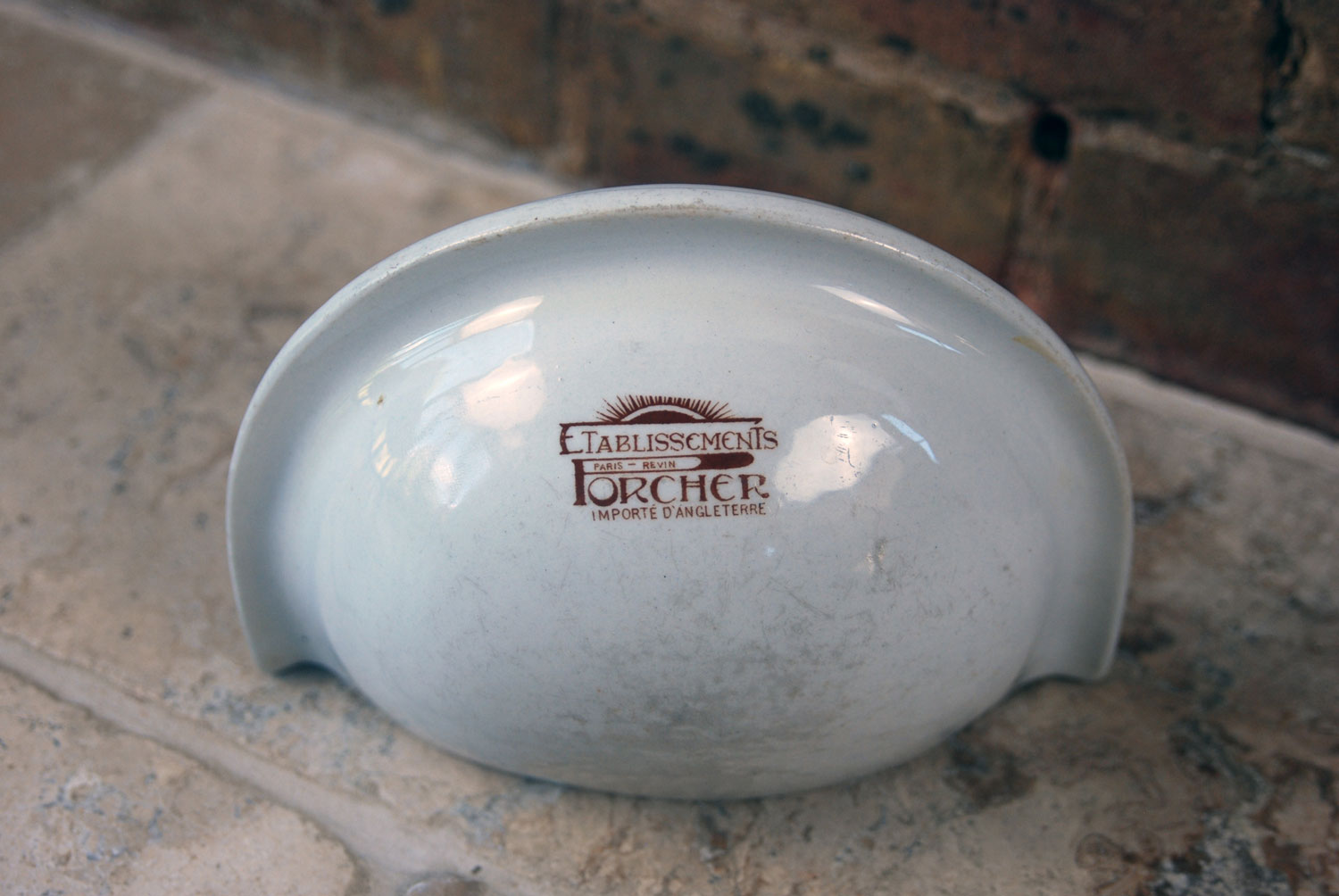 antique french english white ironstone wall mounted soap dish porcher