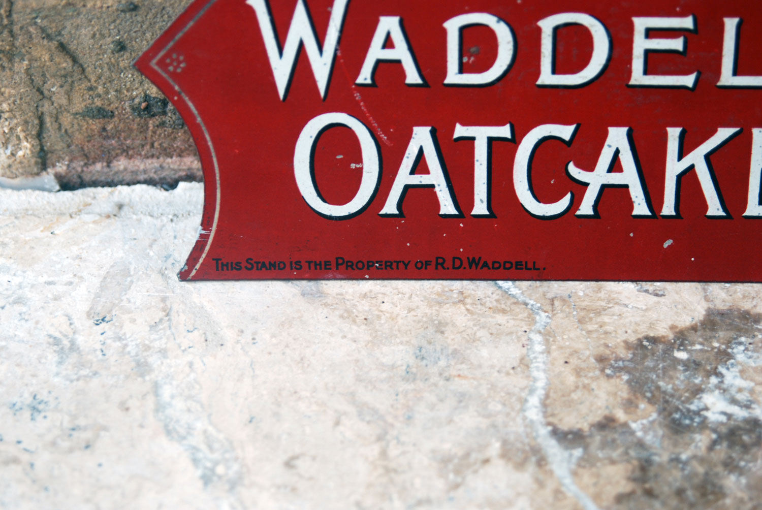 antique edwardian shop advertising stand tin sign red waddells oatcakes