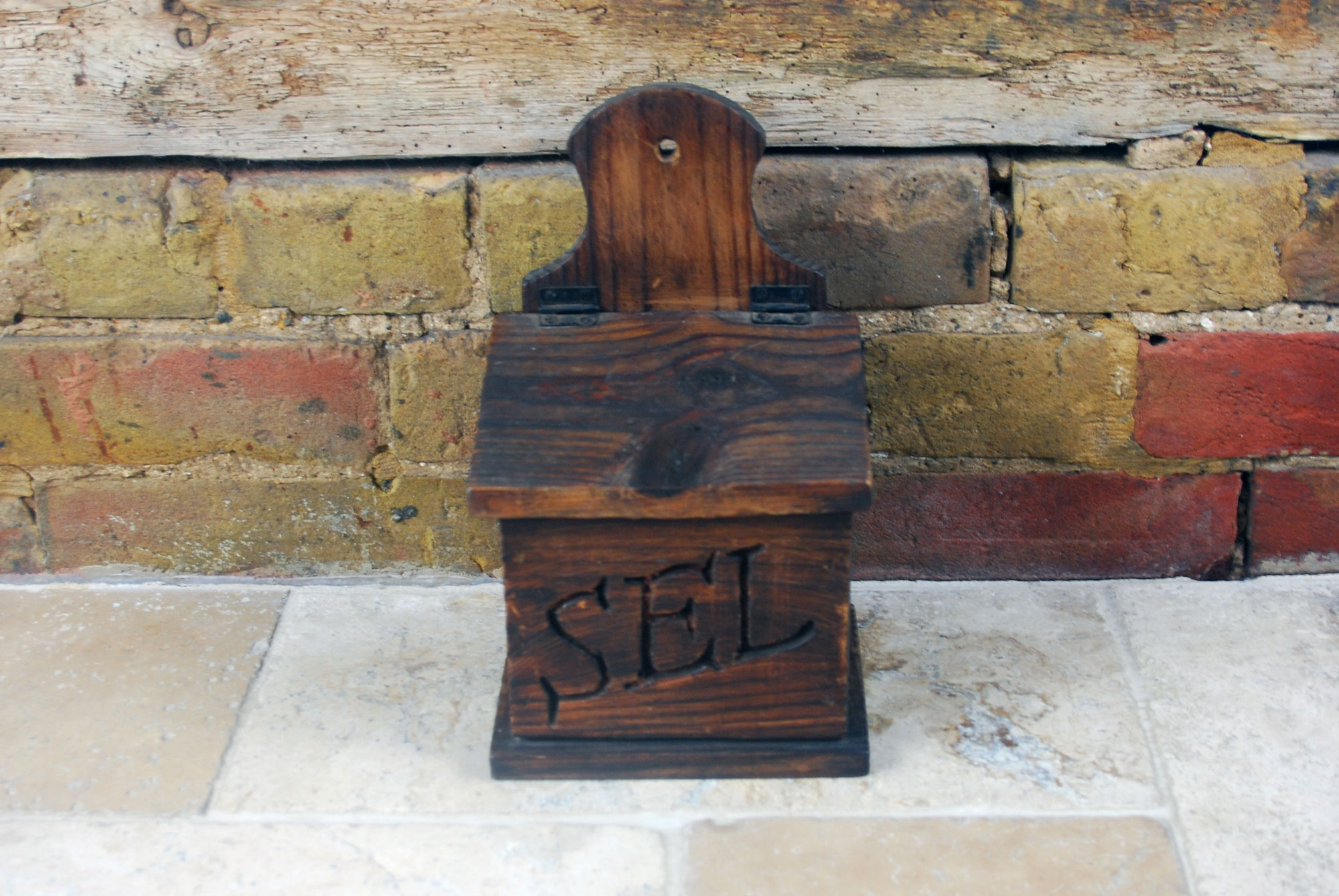 vintage french wooden treen sel box salt pig brocante