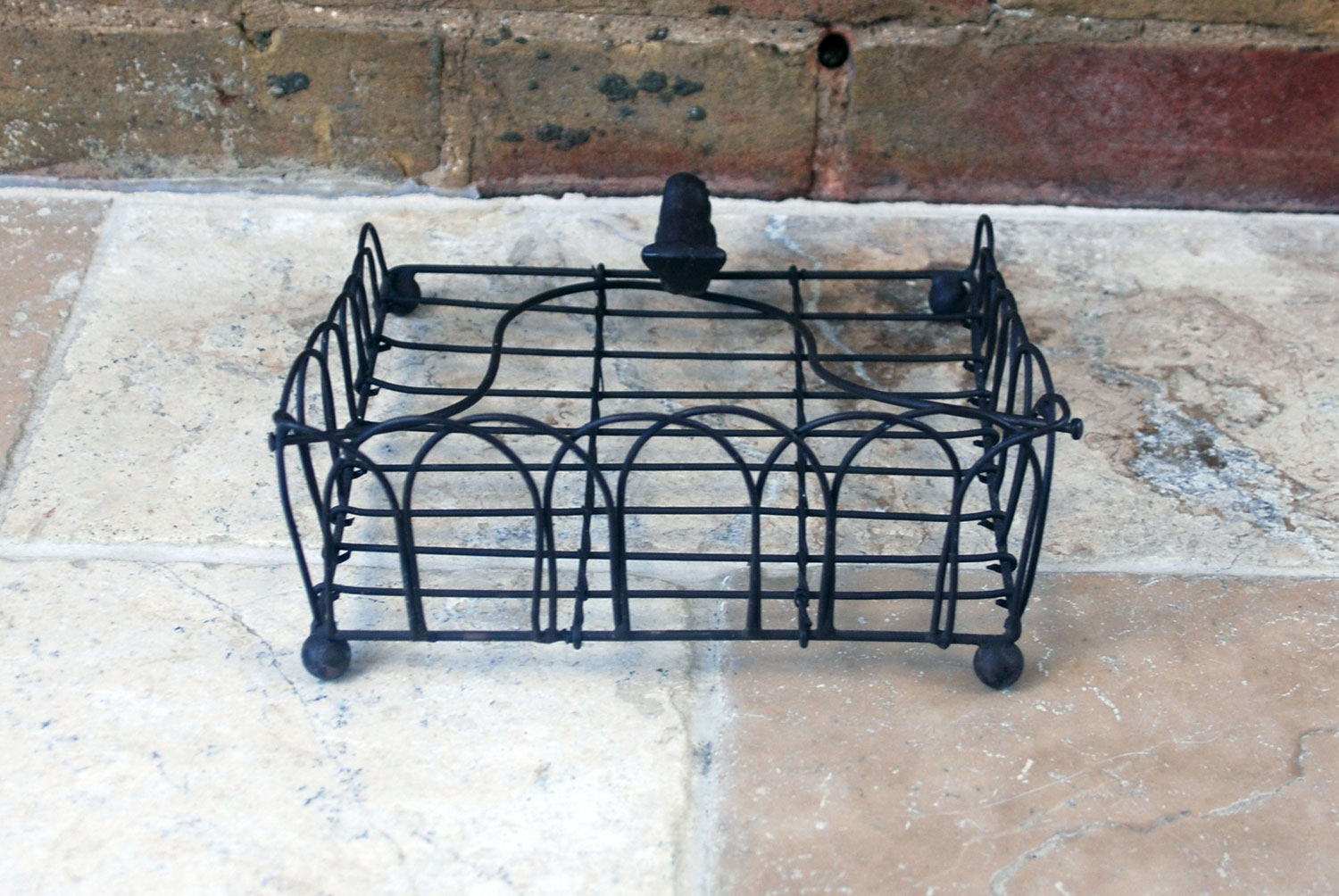 antique vintage french 1920s wirework letter tray holder rack cast iron paperweight bird
