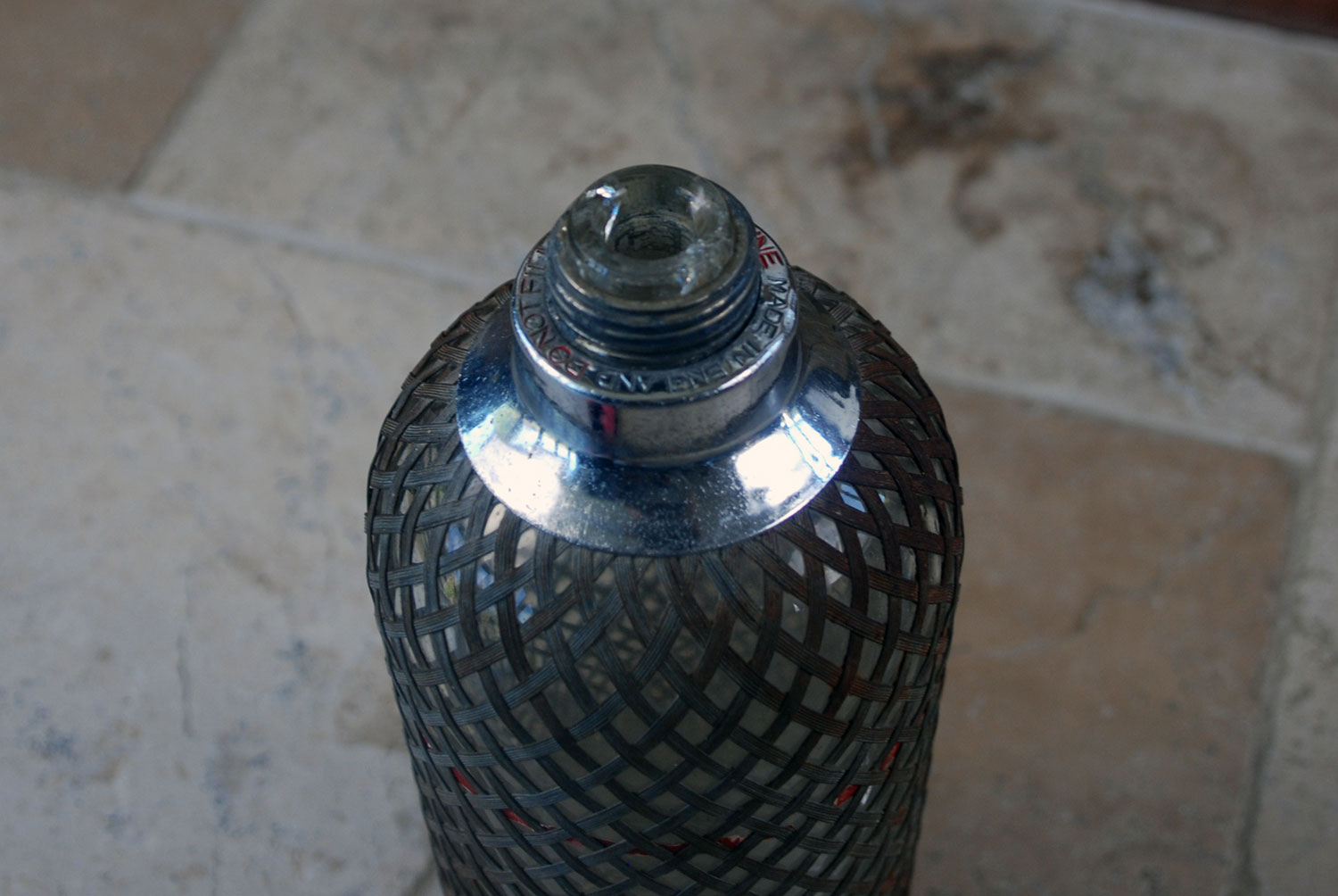 Antique 1930s sparklets soda syphon siphon wire mesh pewter coated